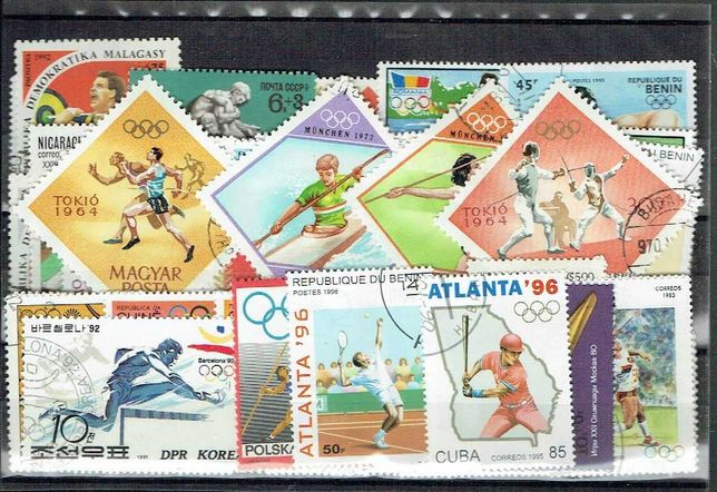 Filatelia- JOGOS OLÍMPICOS DE VERÃO  50 selos diferentes usados