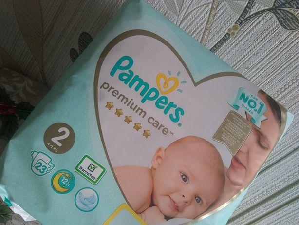 Pampers premium care 2, 4-8 кг, 23 шт. Упаковка целая, не открывалась.
