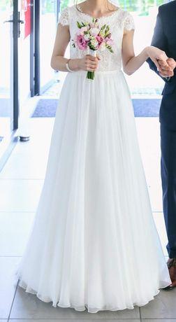 Suknia ślubna roz 36 kolor śmietankowa biel