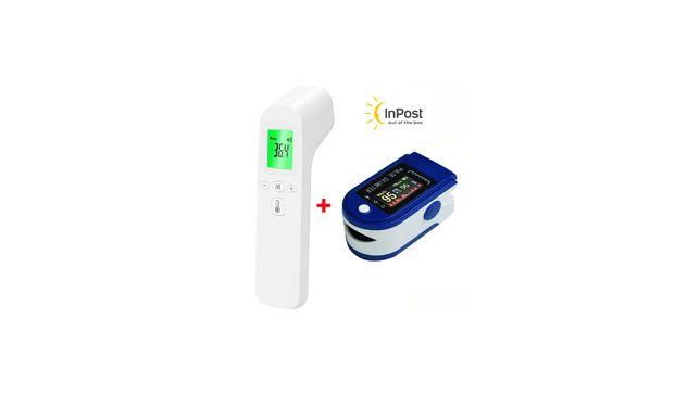 Medyczny pulsoksymetr napalcowy pulsometr + Termometr bezdotykowy
