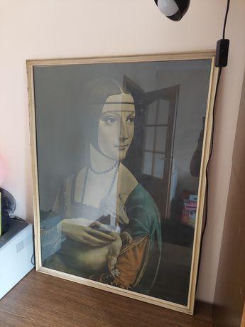 Stary obraz dama z łasiczką duży