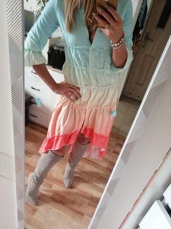 Sukienka asymetryczna ombre pastel hiszpanka rozmiary m l