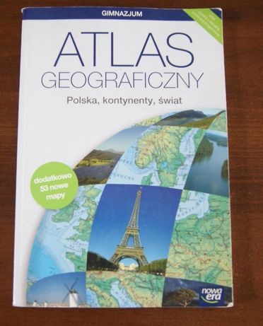 Atlas geograficzny Polska, kontynenty, świat NOWA ERA