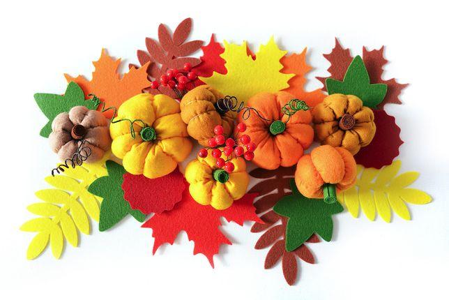 Тыквы из фетра, набор 7 шт, декор на Осень, Хэллоуин.
