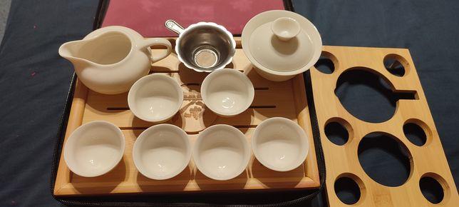 Чабань дорожная с посудой, чайная доска с посудой на 6 персон
