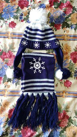 Шапочка с шарфиком и шарф с перчатками