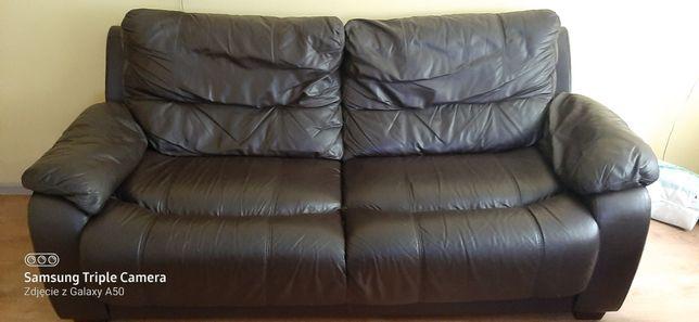 Sofa + fotel z prawdziwej skóry okazja!!!