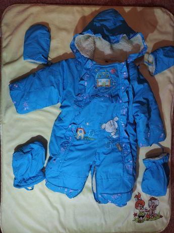 Детский комбинезон от 0 до 12 месяцев зимний на овчине для мальчика