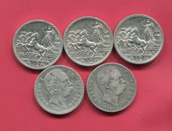 Монеты серебро Италия 2 лиры