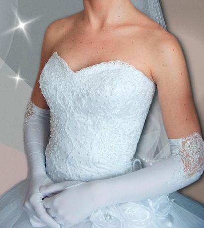 Свадебное платье 44-48 р.+перчатки, колье, сережки- в подарок!