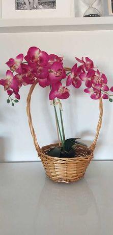 Orquídea artificial com cesto