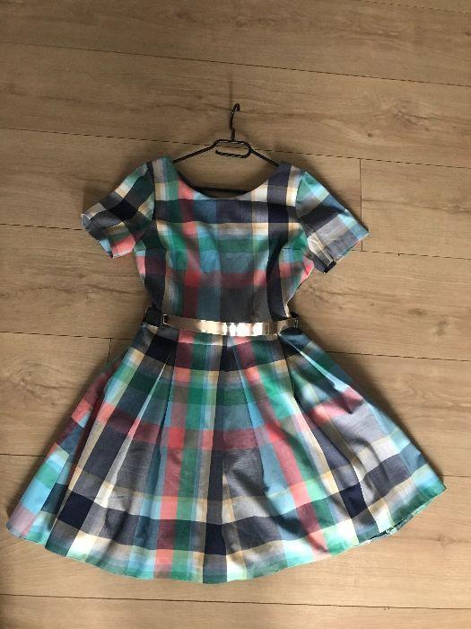 piękna sukienka w kratkę z paskiem roz M 38 pastelowa Elbląg - image 1