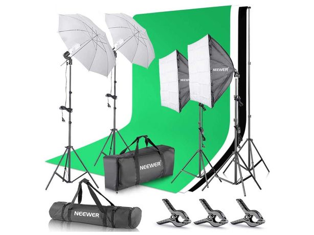 Kit iluminação estúdio foto e vídeo fundos luzes estrutura Neewer