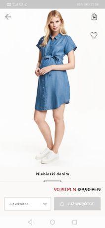 Sukienka szmizjerka h&m mama lyocell jeansowa denim