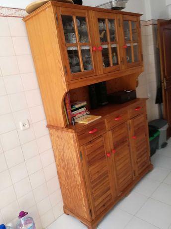 armário de cozinha/cristaleira em pinho maciço