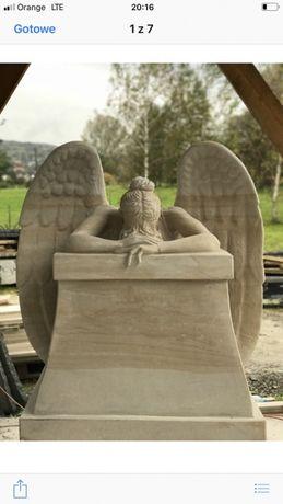 Nagrobek z aniołem rzeźba anioła nagrobek z piaskowca anioł