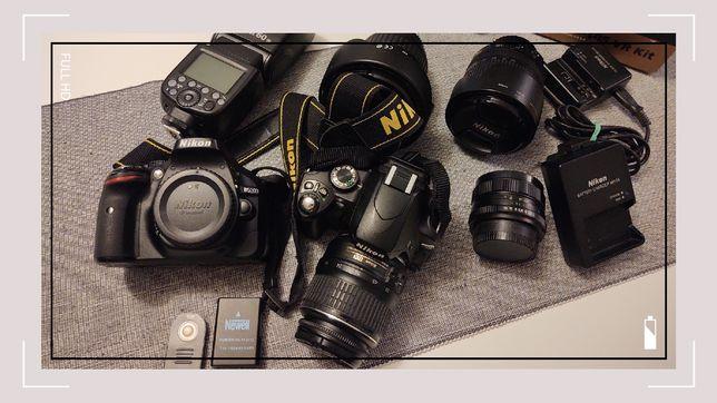 Nikon D5200 + Nikon D60 (lampa, obiektywy) . Duży zestaw