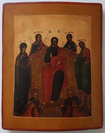Ikona Deesis Matka Boża Bogolubska Jezus Chrystus Tronujący Święty Jan