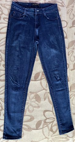 Spodnie jeansowe średni stan ciemny jeans skinny gumowane