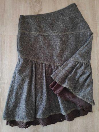 Spódnica z ozdobną falbaną, brąz, H&M