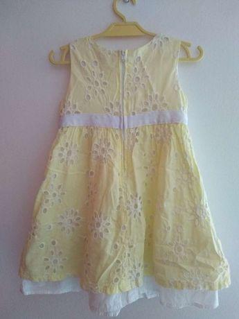 Sukienka żółto-biała bez rękawów roz. 3 Lata (98)