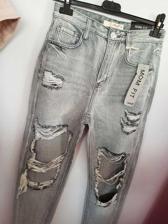 Spodnie Jeansowe Dziury  S
