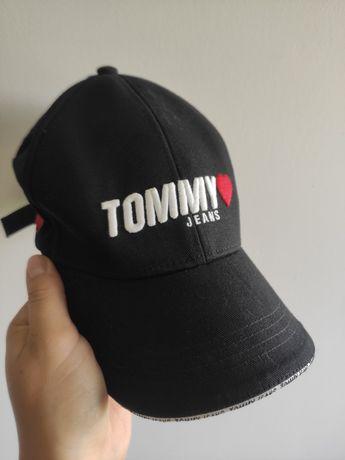 Czapka z daszkiem czarna Tommy Jeans Hilfiger napisy uni oryginał