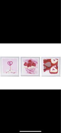 Zestaw 3x obraz drewniany czekoladki, róże, serca