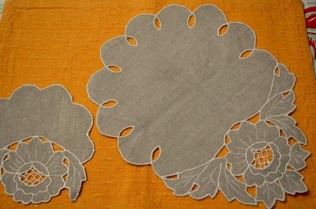 Komplet nowych 7 serwetek z szarego lnu haftowane rękodzieło tanio