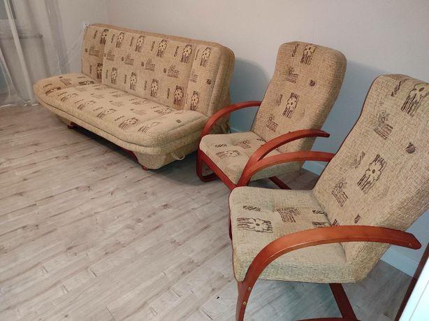 Komplet wypoczynkowy fotel wersalka łóżko fotele beż