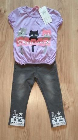 Nowy komplecik dziewczęcy szare spodnie i bluzeczka z kotkami 92