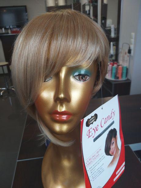 Peruka sztuczne włosy blond krótkie bob asymetria grzywka Florence