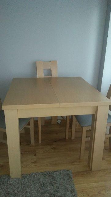 Nowoczesny, drewniany zestaw rozkładany stół + 4 krzesła