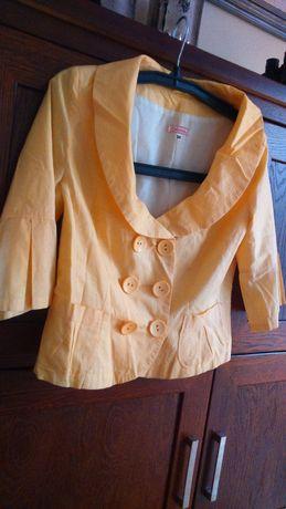 Żakiet cienka bawełna z podszewką, żółty-okrągły dekolt 38-40 ,bolerko