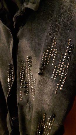 Płaszcz czarny jeansowy