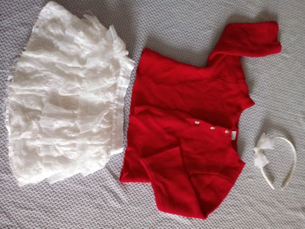 Spódniczka tiulowa, sweterek świąteczny,zestaw dla dziewczynki 110-116