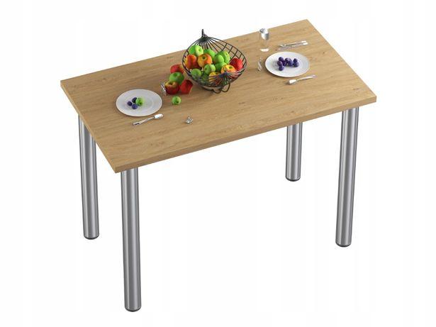 Stół stolik kuchenny do jadalni kuchni blat dąb kamienny nogi chrom