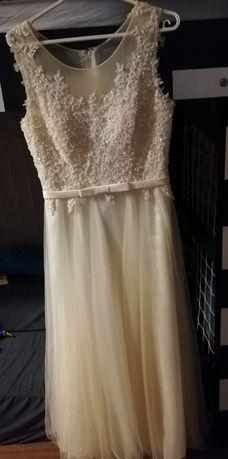 Suknia ślubna - wizytowa ecru