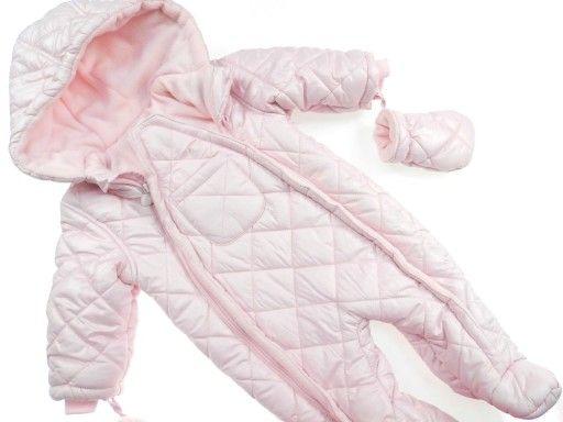 Kombinezon zimowy dziewczęcy różowy pikowany 6-9 m