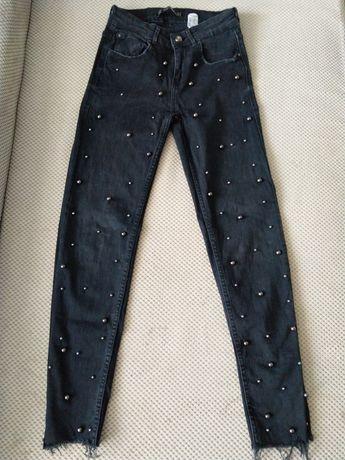 Spodnie jeansy Zara S perełki
