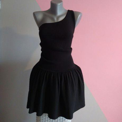 Sukienka czarna prążkowana na jedno ramię XS 34