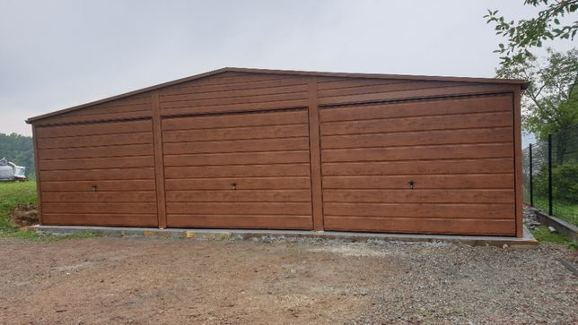 Producent garaży blaszanych garaż 9x6 orzech mat panel pozomo plus ryn