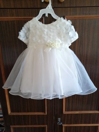 Komplet: sukienka do chrztu rozmiar 74, buciki, bolerko i opaska