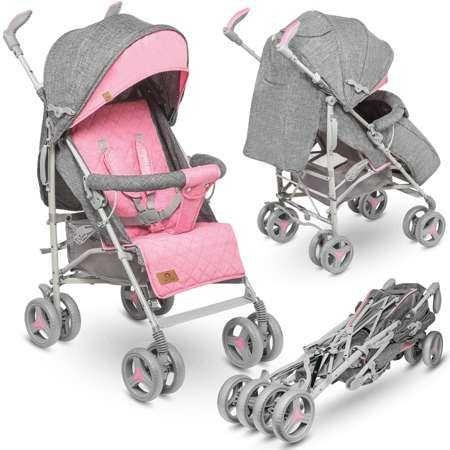 Nowy wózek spacerowy spacerówka parasolka LIONELO IRMA szaro-różowa