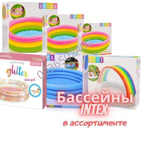 Детский бассейн надувной Интекс Intex Бассейн радуга глиттер домик