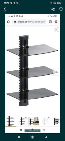 Półka ścienna potrójna RTV, DVD z regulacja, szklana,czarna