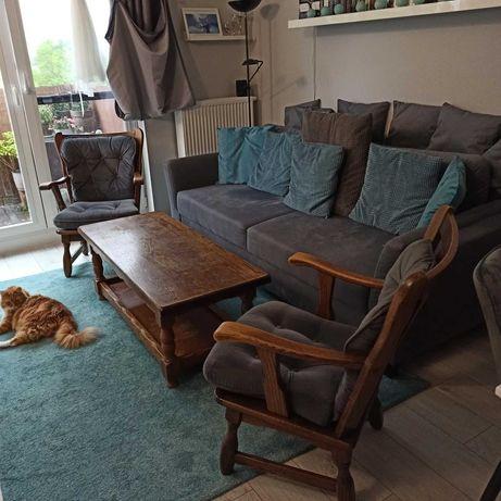 Meble dębowe holenderskie - ława i dwa fotele