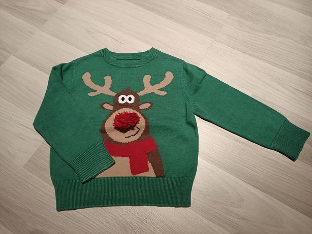 Sweter z reniferem 3 lata 98 cm