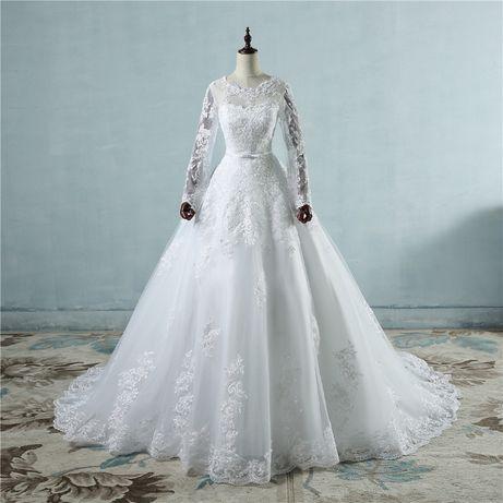 suknia ślubna sukienka koronka rękaw 42 XL, 46 XXXL