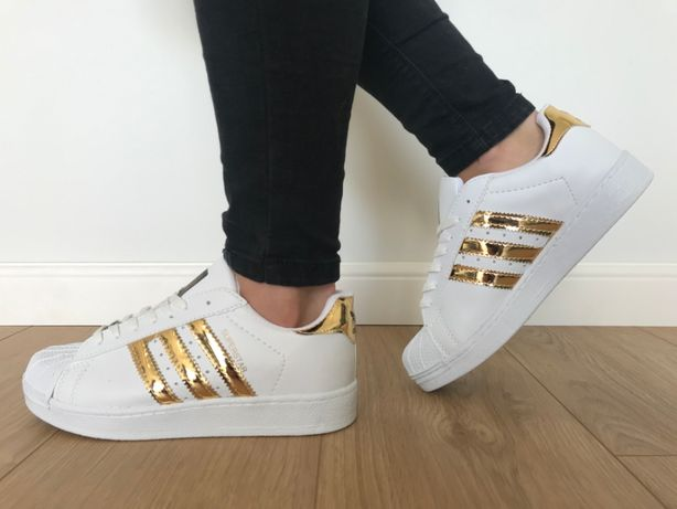 Adidas Superstar. Rozmiar 40. Białe - Złote paski. Super cena!